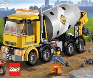 Układanka Betonomieszarka pojazd ciężarowy i robotnik budowlany, Lego City