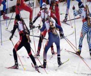 Układanka Biathlon na sporty zimowe połączenia narciarstwa biegowego z strzelectwa sportowego.