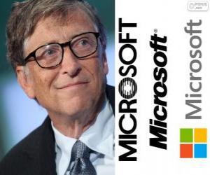 Układanka Bill Gates, przedsiębiorca i amerykański informatyk, współzałożyciel firmy Microsoft oprogramowanie