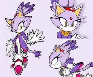 Układanka Blaze the Cat, księżniczką, a jeden z przyjaciół Sonic