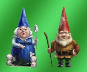 Układanka Blueberry Pani i Pana Gnomeo Redbrick matka ojciec Julii i przywódcami dwóch rywalizujących ze sobą ogrodów