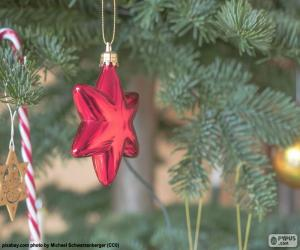 Układanka Boże Narodzenie czerwony gwiazda