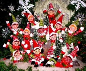 Układanka Boże Narodzenie elfy grupy