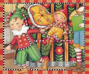 Układanka Boże Narodzenie Elfy