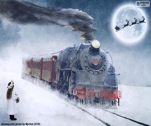Układanka Boże Narodzenie Parowa lokomotywa