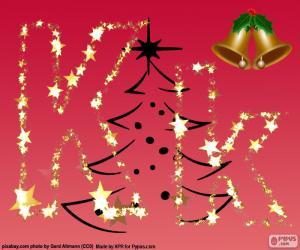 Układanka Boże Narodzenie tło, litera K