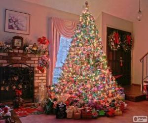 Układanka Boże Narodzenie urządzone jodła