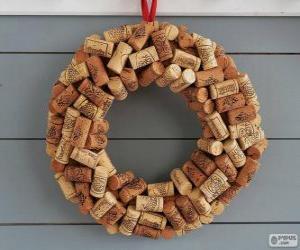 Układanka Boże Narodzenie wieniec z korki