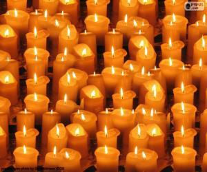 Układanka Boże Narodzenie zapalił świeczki