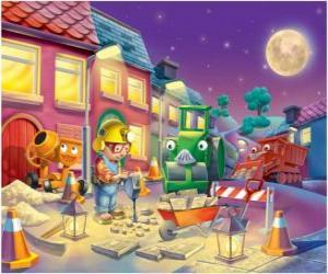 Układanka Bob i jego przyjaciele trabajano noc naprawy ulicy miasta