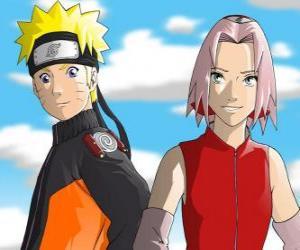 Układanka Bohaterowie Naruto Uzumaki i Sakura Haruno uśmiechem