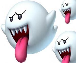 Układanka Boo z Super Mario Bros gry. Boos są widmowej istoty z ostrymi zębami i języków długo