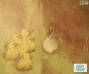 Układanka Brzydkie kaczątko czuje się różni się od swoich braci