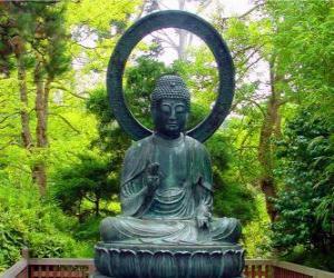 Układanka Budda Siakjamuni posiedzenie