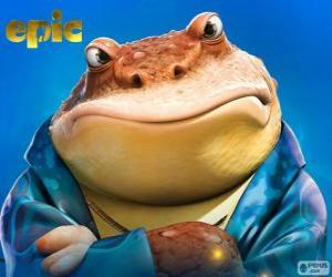 Układanka Bufo, żaba, który jest człowiekiem biznesu w tajemniczy świat