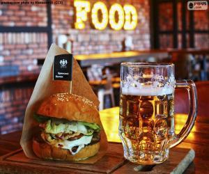 Układanka Burger i piwo