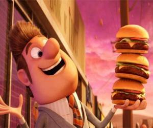 Układanka Burmistrz zadowolony z trzech hamburgery w ręku
