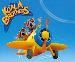 Układanka Buster i Frank pilotowanie samolotu