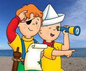 Układanka Caillou i Leo gry piraci i poszukiwanie skarbu z mapą