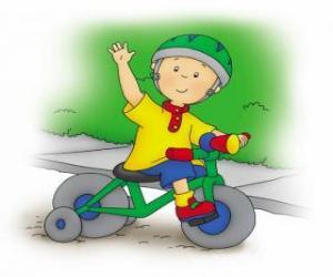 Układanka Caillou, jazda na rowerze
