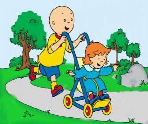 Układanka Caillou spacer z młodszą siostrę w wózku