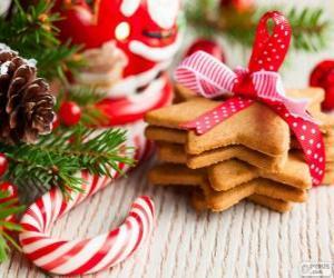 Układanka Candy trzciny i ciasteczka na Boże Narodzenie
