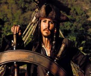 Układanka Captain Pirat na czele swojej łodzi