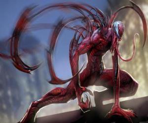 Układanka Carnage to czarnego symbiontu, przeciwnikiem Spider-Man i Venom z najgorszy wróg