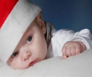 Układanka Chłopiec z kapeluszem Święty Mikołaj czy Santa Claus