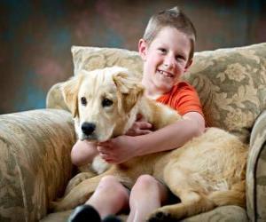 Układanka Chłopiec z psem