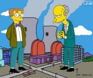 Układanka Charles Montgomery Burns i Waylon Smithers, właścicielem elektrowni atomowej w Springfield i jego asystent