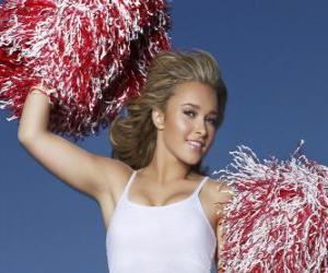 Układanka Cheerleaderki z pom-poms podczas pokazu