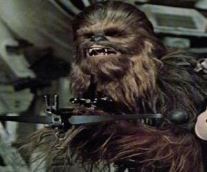 Układanka Chewbacca, ogromny i owłosione Wookiee, wskazując broń
