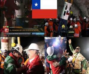 Układanka Chilijskich górników ratowanie szczęśliwe zakończenie