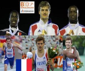 Układanka Christophe Lemaitre 200 m mistrz, Christian Malcolm i Martial Mbandjock (2 i 3) z Barcelona Mistrzostwa Europy w Lekkoatletyce 2010