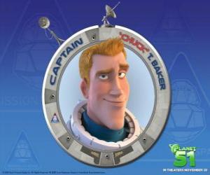 Układanka Chuck dziecka marzył być astronautą, jest odważny, przystojny i pewny siebie