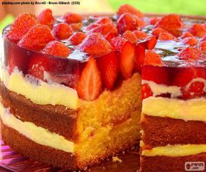 Układanka Ciasto pyszne truskawki
