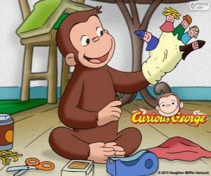 Układanka Ciekawską małpką George sprawia, że lalki