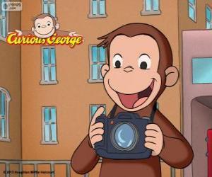 Układanka Ciekawską małpką George z kamerą