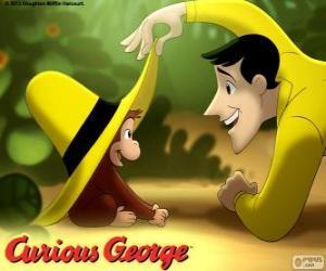 Układanka Ciekawski George i Ted, mężczyzna w żółtym kapeluszu