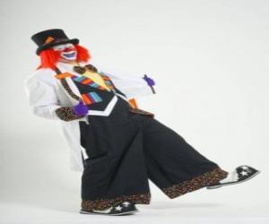 Układanka Clown z pełnym stroju clowna, kapelusz, perukę, rękawiczki, krawat, spodnie i buty big big