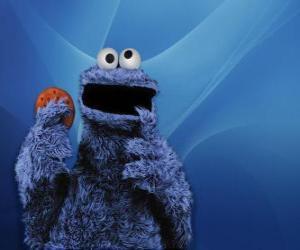 Układanka Cookie Monster zjada ciasteczko
