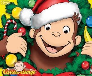 Układanka Curious George na Boże Narodzenie
