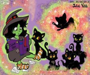Układanka Czarownica z ich czarne koty