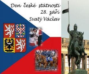 Układanka Czech National Day. 28 września Wacława, patrona Czech