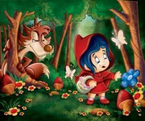 Układanka Czerwony Kapturek w lesie z wilk ukryte między drzewa