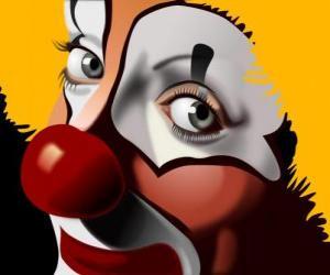 Układanka Czerwonym nosem clown twarzy