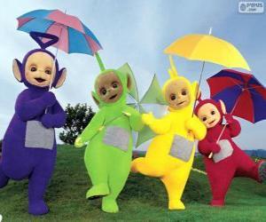 Układanka Cztery Teletubbies z parasolami otwarty