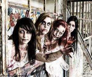 Układanka Cztery zombie Halloween