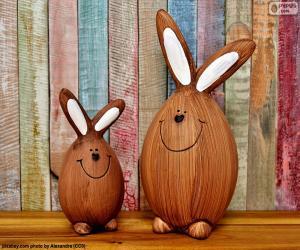 Układanka Dane liczbowe Wielkanoc królików